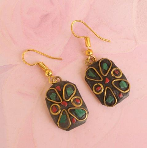 Tibetan Earring Multi Color