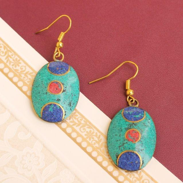 Tibetan Earring Multi Color Oval