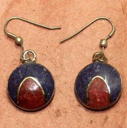 Tibetan Earring Multi Color Round