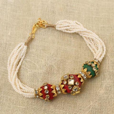 Kundan Beaded Bracelet Red and Green