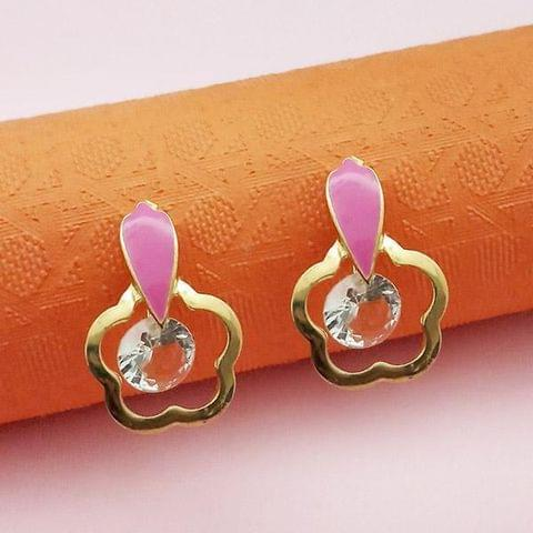 Gold Plated Pink Meenakari Austrian Stone Stud Earrings