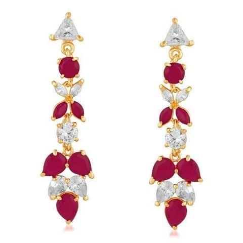 Ruby AD Stone Gold Plated Dangler Earrings