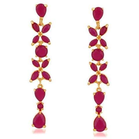 Ruby Stone Gold Plated Dangler Earrings
