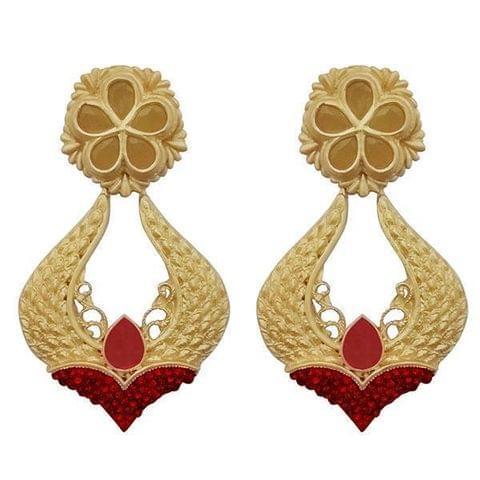 Maroon Pota Stone Gold Plated Dangler Earrings