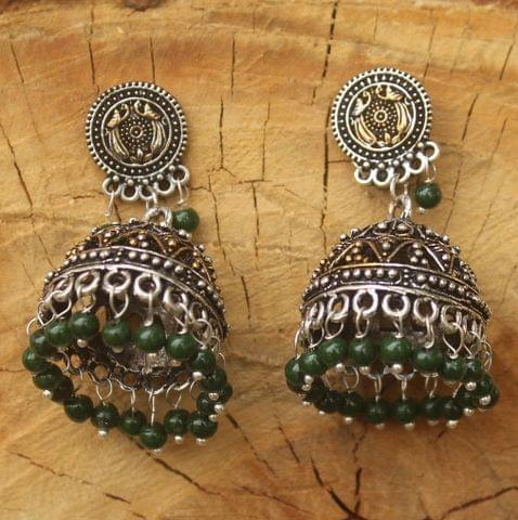 German Silver Beads Hanging Double Tone Jhumki Green