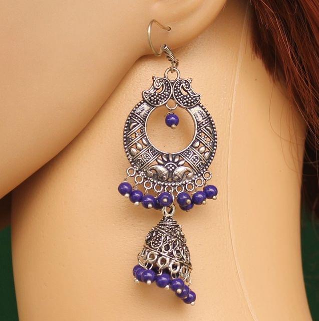 German Silver Chandibali Earring Jhumkas Blue