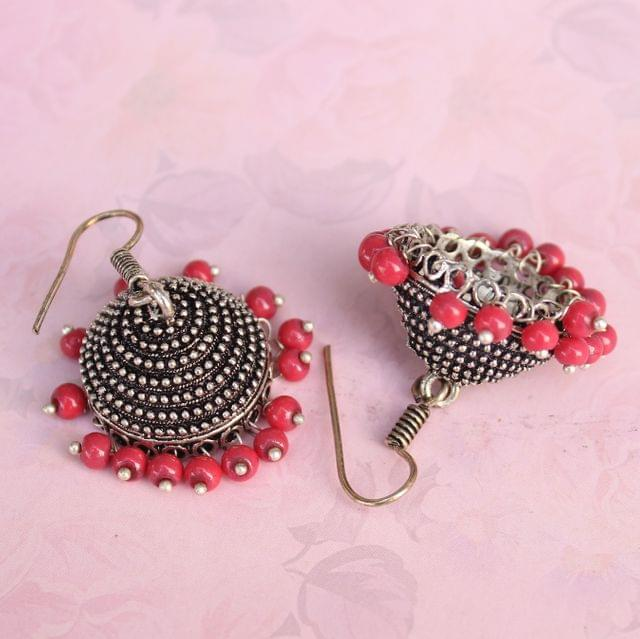 German Silver Beads Hanging Jhumki Red