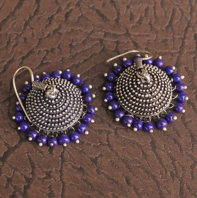 German Silver Beads Hanging Jhumki Blue