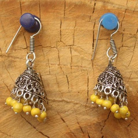 German Silver Beads Hanging Jhumki Yellow