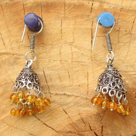 German Silver Beads Hanging Jhumki Trans Yellow