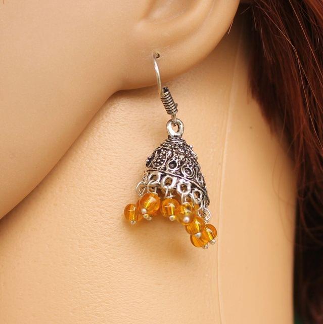 German Silver Beads Hanging Jhumki Trans Yellow