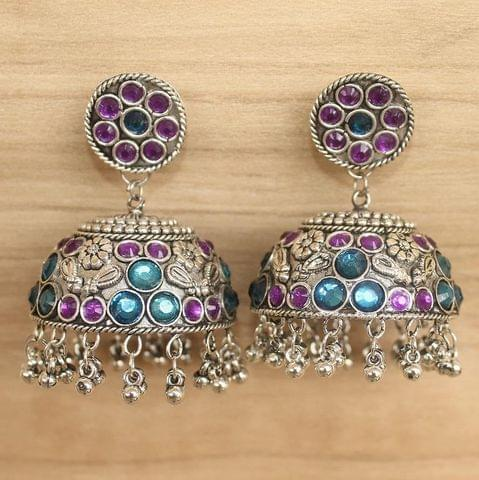 German Silver Round Big Jhumki Multicolor