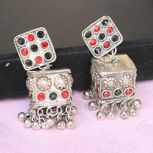 German Silver Cube Shape Jhumki Multicolor