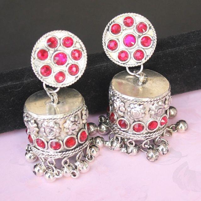 German Silver Round Shape Jhumki Red