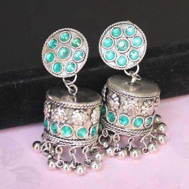 German Silver Round Shape Jhumki Turquoise