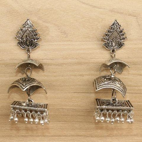 German Silver Beads Hanging Jhumki