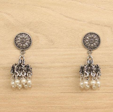 German Silver Beads Hanging Jhumki White