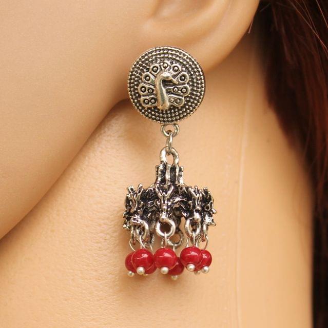 German Silver Beads Hanging Jhumki Red