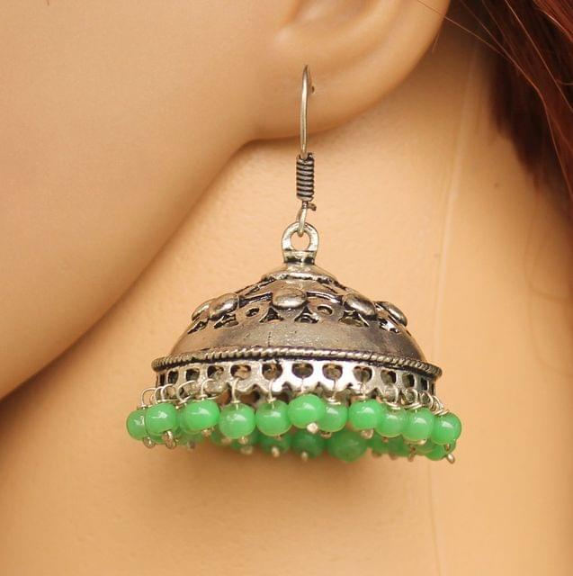 German Silver Beads Hanging Jhumki Parrot Green