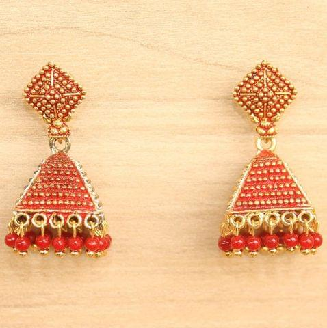 Meenakari Jhumka Earrings Red