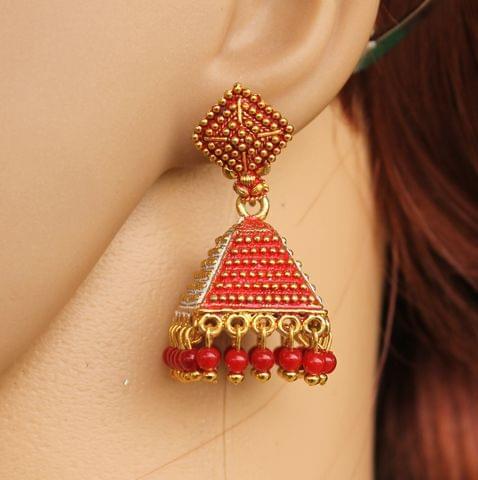 Meenakari Jhumka Earrings Red