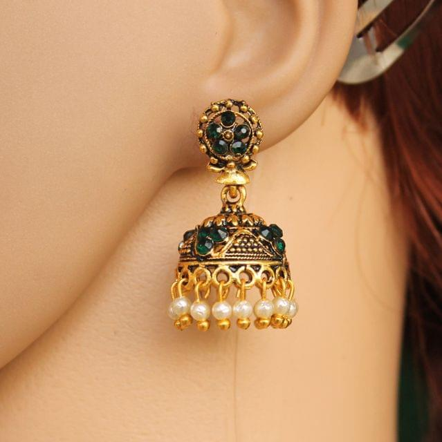 Meenakari Jhumka Earrings White