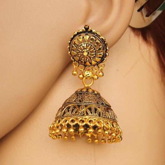Meenakari Jhumka Earrings Golden