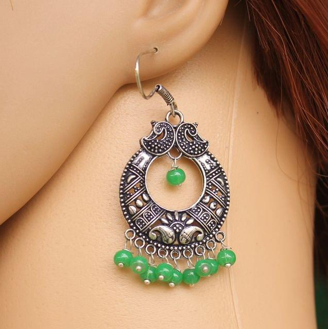 German Silver Chandibali Earring Light Green