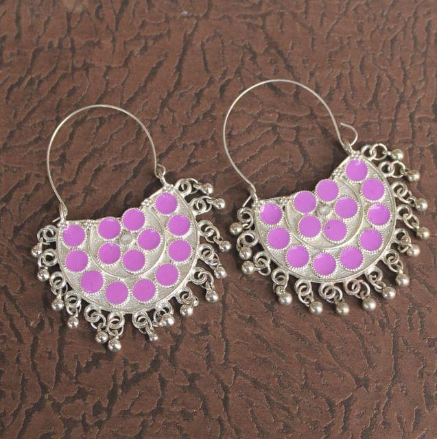 German Silver Meenakari Chandibali Earring Purple
