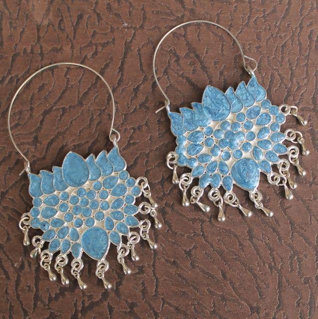 German Silver Meenakari Lotus Flower Earring Sky Blue