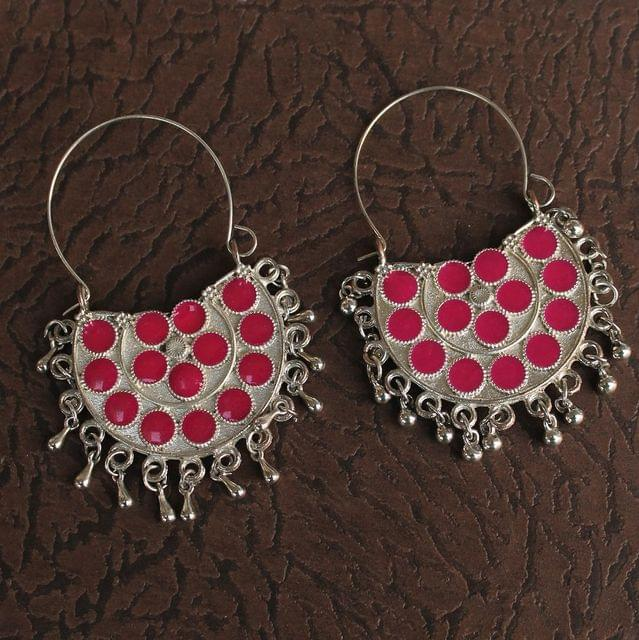 German Silver Meenakari Chandibali Earring Hot Pink