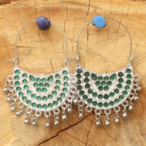 German Silver Meenakari Chandibali Earring Light Green
