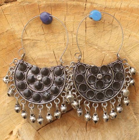 German Silver Meenakari Chandibali Earring Black