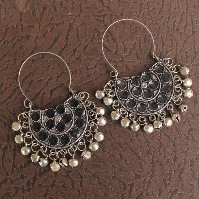 German Silver Meenakari Chandibali Earring Black
