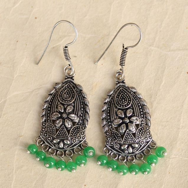 German Silver Beads Hanging Earring Light Green