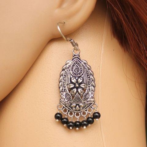 German Silver Beads Hanging Earring Black