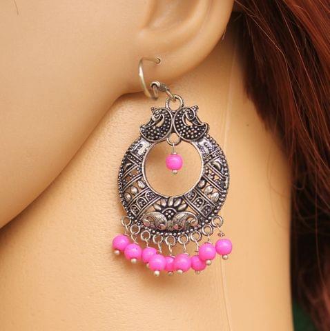 German Silver Chandibali Earring Pink