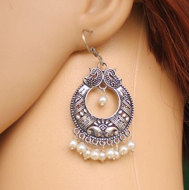 German Silver Chandibali Earring White
