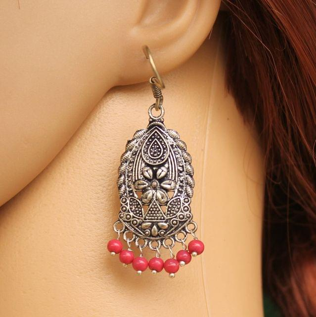 German Silver Beads Hanging Earring Red