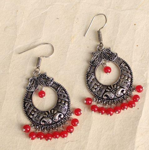 German Silver Chandibali Earring Red