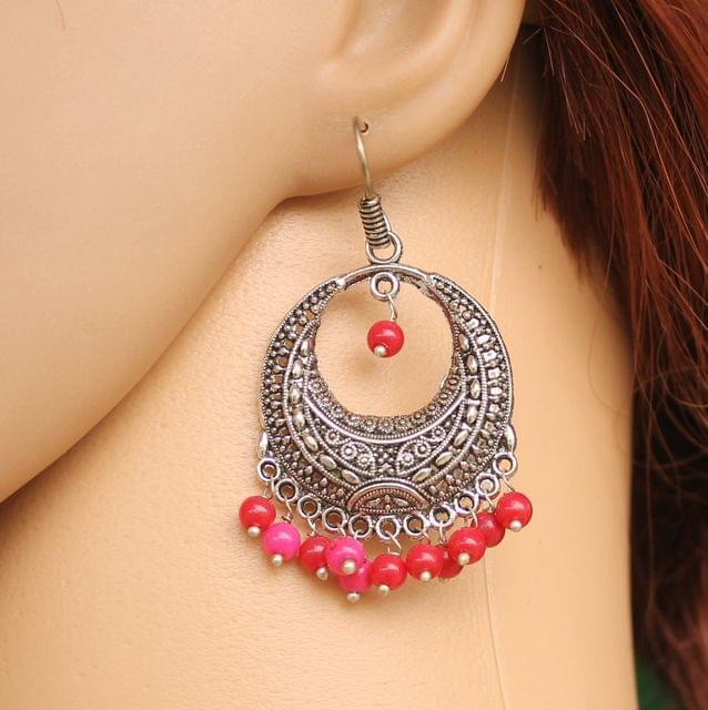 German Silver Beads Hanging Chandbali Earring Red