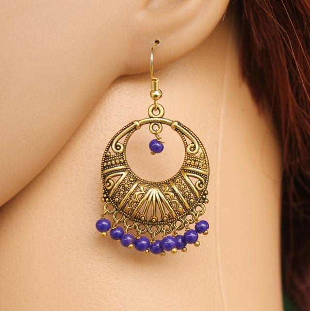 German Silver Chandibali Earrings Blue