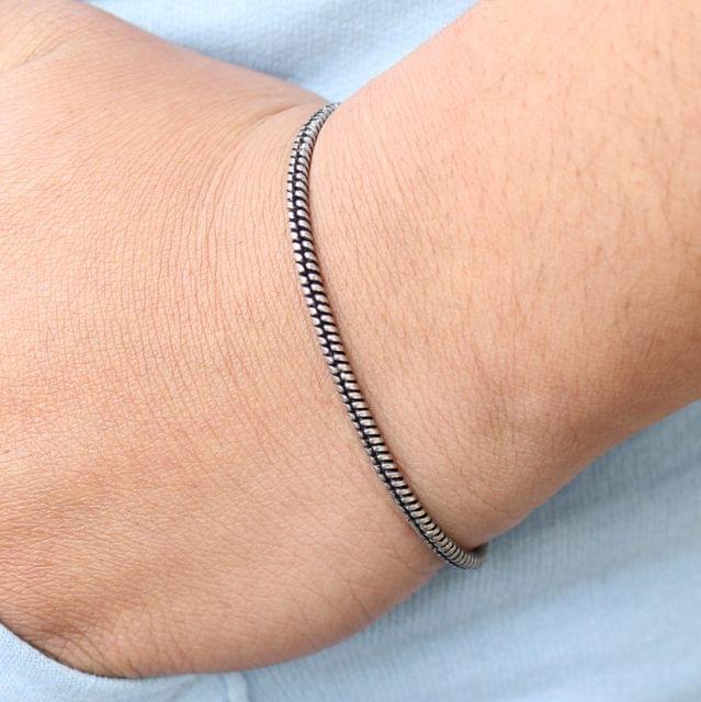 German Silver Smooth Textured Bracelet