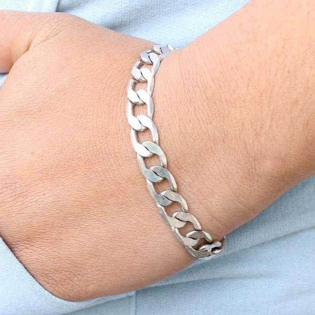 German Silver Solid Curb Bracelet