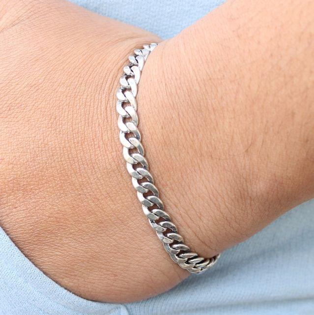 German Silver Solid Curb Bracelet
