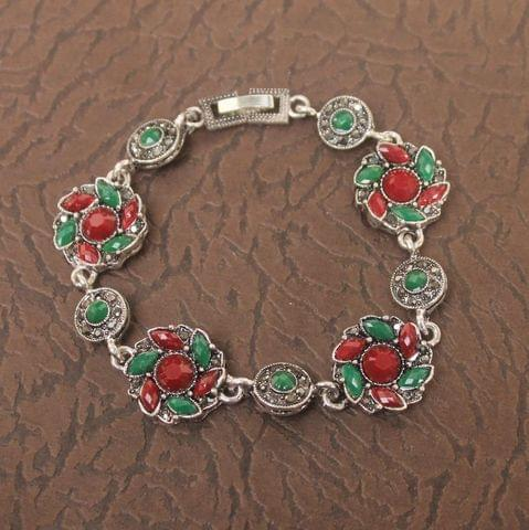 German Silver Tready Stone Bracelet Red And Green