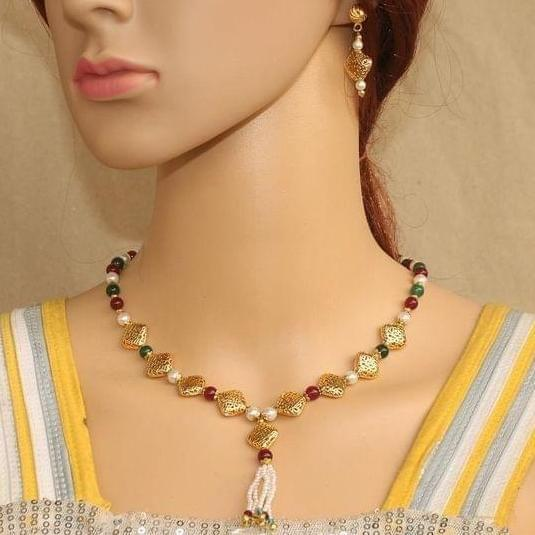 Colorful Beaded Necklace Set Multicolor