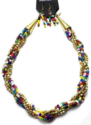 Metal and Seed Beads Beaded Necklace For Girls Multicolor