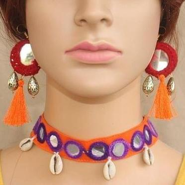 Multicolor Choker and Earrings Set