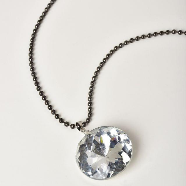 Black Beads White Crystal Stone Necklace